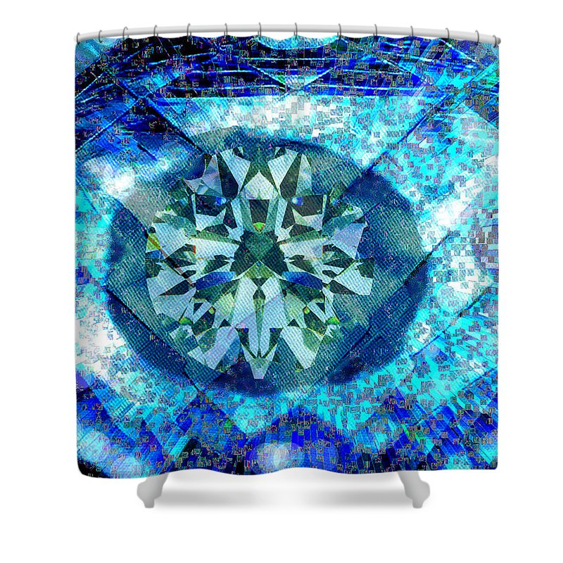 Abstract Shower Curtain featuring the digital art Behold The Jeweled Eye by Seth Weaver