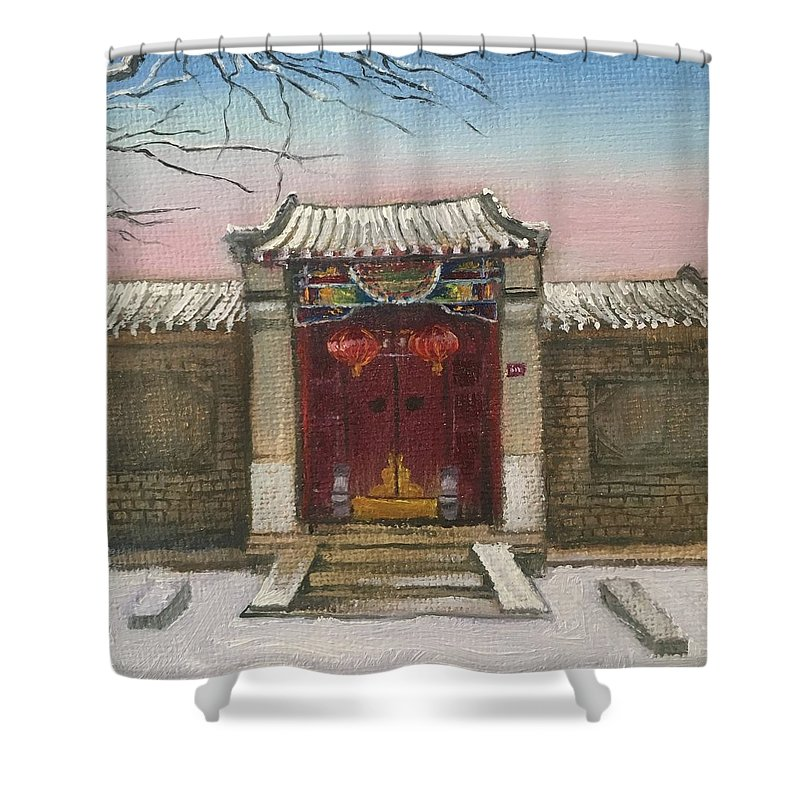 Hu Tong Shower Curtain featuring the painting Beijing by Jie Yang