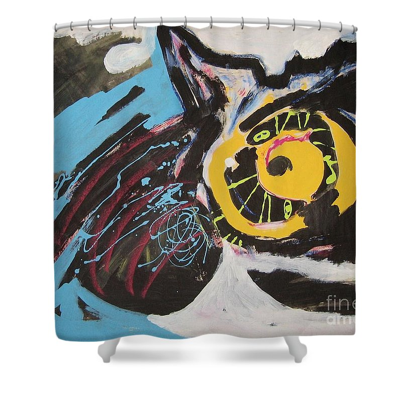 Abstract Cat Paintings Shower Curtain featuring the painting Being Lazy by Seon-Jeong Kim