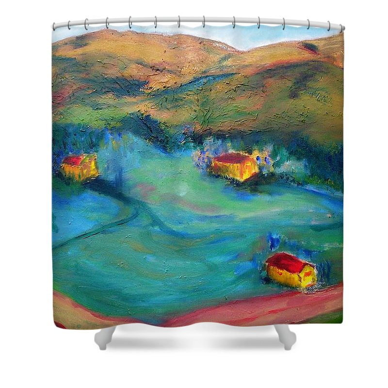 Landscape Shower Curtain featuring the painting Beit Shemesh by Suzanne Udell Levinger