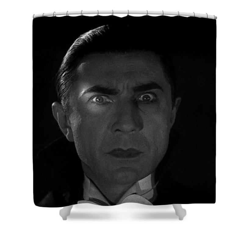 Bela Lugosi Shower Curtain featuring the photograph Bela Lugosi Dracula 1931 And His Piercing Eyes by R Muirhead Art