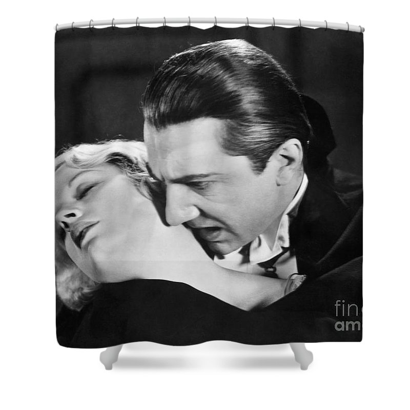Bela Lugosi Shower Curtain featuring the photograph Bela Lugosi Dracula 1931 Feast On Mina Helen Chandler by R Muirhead Art