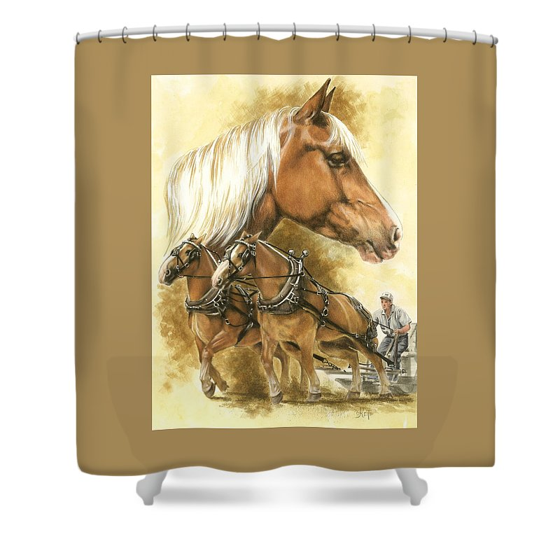 Equus Shower Curtain featuring the mixed media Belgian by Barbara Keith