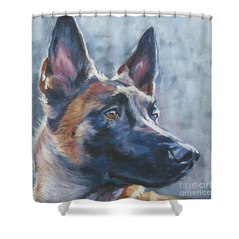 Belgian Malinois Shower Curtain featuring the painting Belgian Malinois In Winter by Lee Ann Shepard