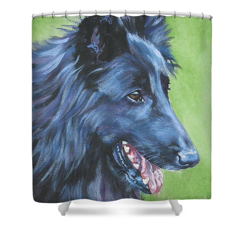 Belgian Sheepdog Shower Curtain featuring the painting Belgian Sheepdog by Lee Ann Shepard