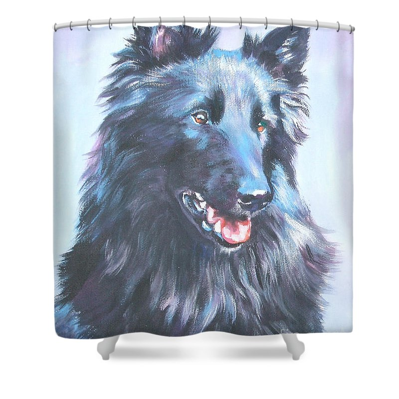Belgian Sheepdog Shower Curtain featuring the painting Belgian Sheepdog Portrait by Lee Ann Shepard