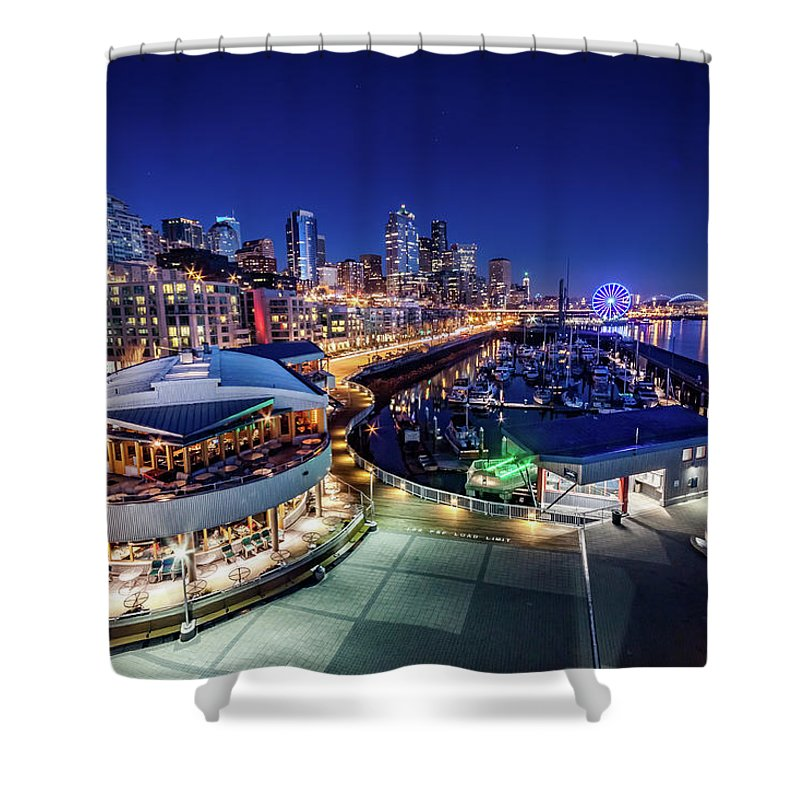 Bell Harbor Shower Curtain featuring the photograph Bell Harbor by Jon Reiswig