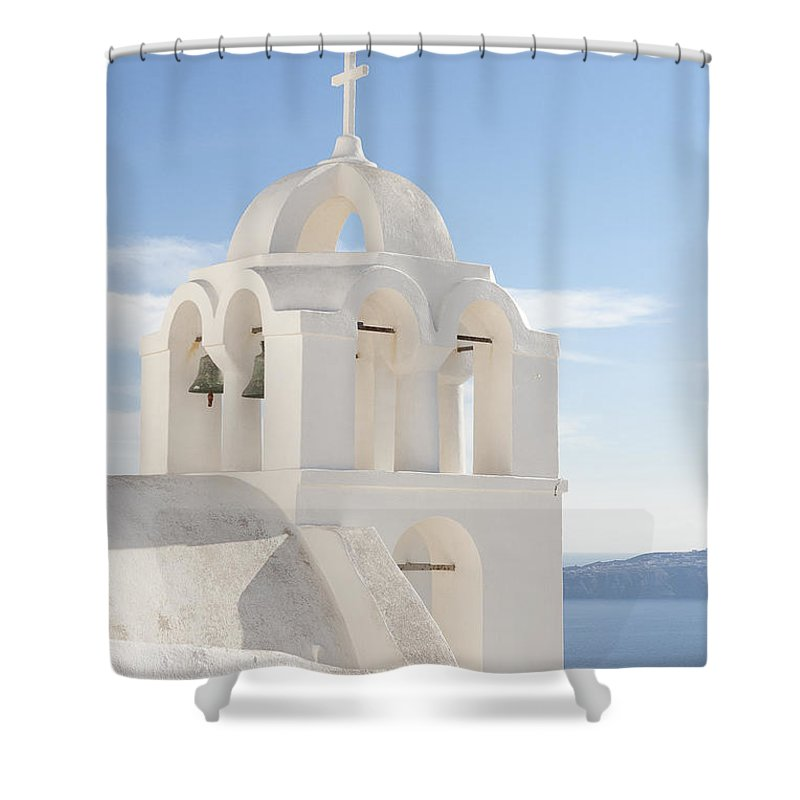 Greek Shower Curtain featuring the photograph Bell Tower Santorini by Eva Tziampazi Rendl