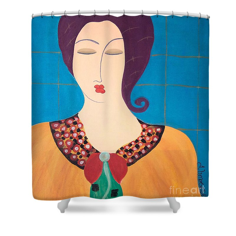 #female #figurative #photography # Fineart #art #images #painting #artist #painter #artlover Shower Curtain featuring the painting Bella by Jacquelinemari