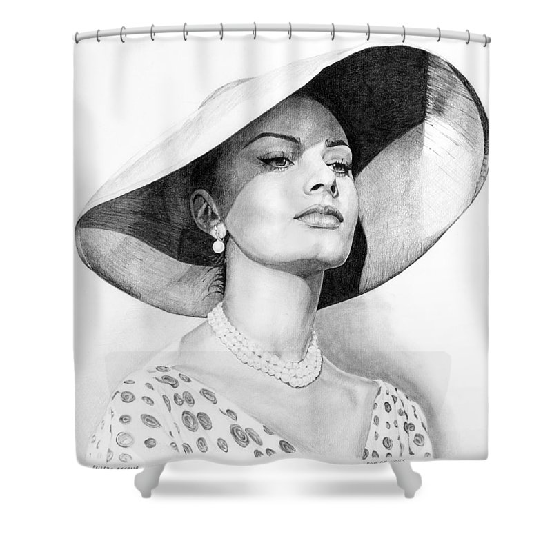 Sophia Shower Curtain featuring the drawing Bellezza Eterna by Rob De Vries