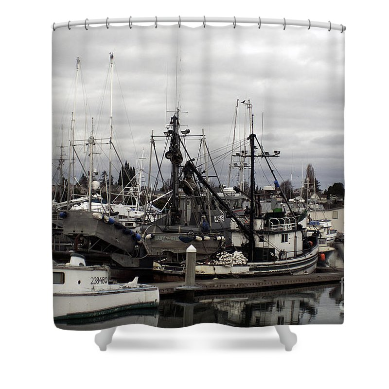 Art Shower Curtain featuring the photograph Bellingham Bay Ship Yard by Clayton Bruster