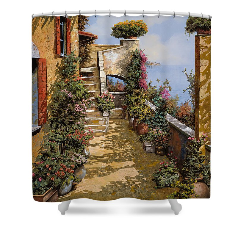 Terrace Shower Curtain featuring the painting Bello Terrazzo by Guido Borelli