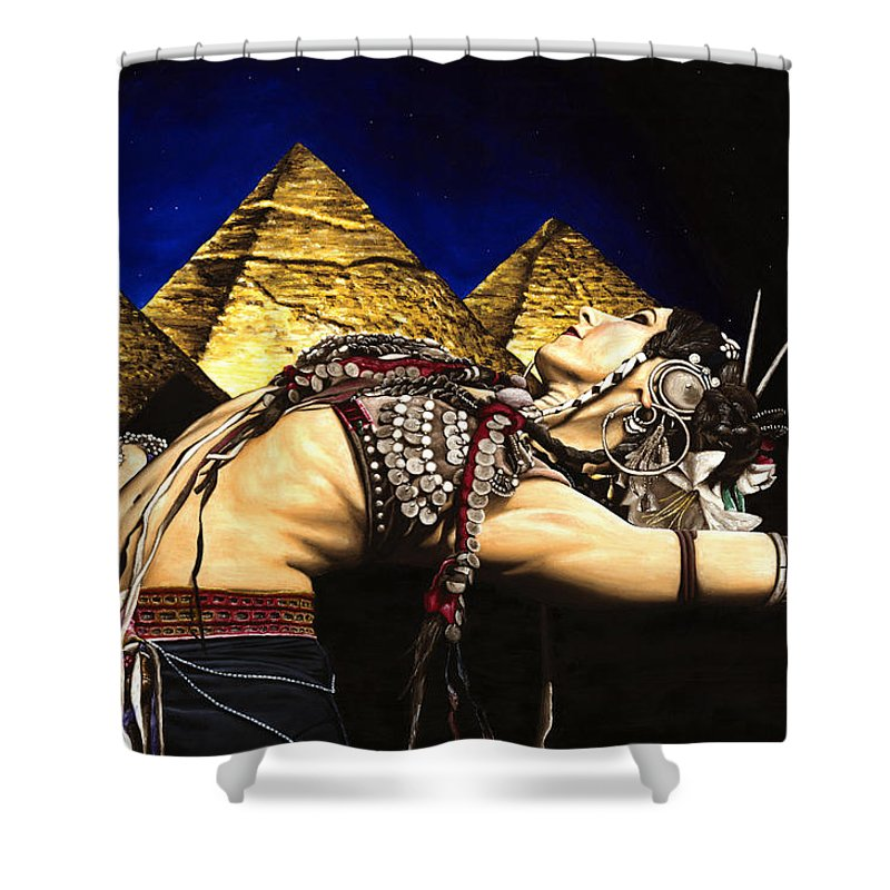 Bellydance Shower Curtain featuring the painting Bellydance Of The Pyramids - Rachel Brice by Richard Young