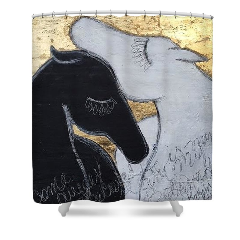 Horse Shower Curtain featuring the painting Beloved by Karen Leigh
