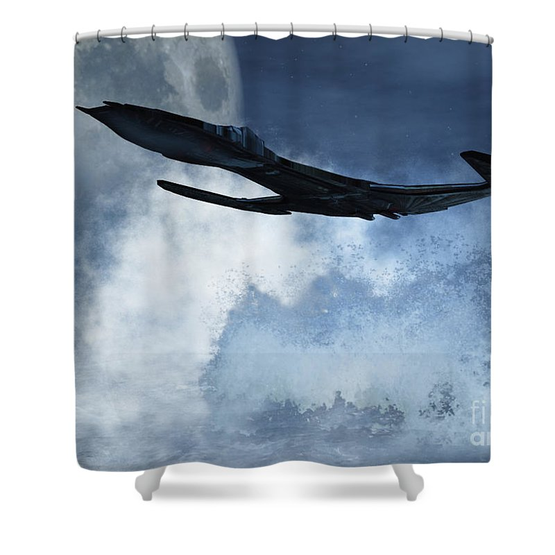 Flight Shower Curtain featuring the digital art Below Radar by Richard Rizzo