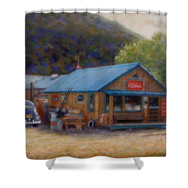 Realism Shower Curtain featuring the painting Below Taos 2 by Donelli DiMaria