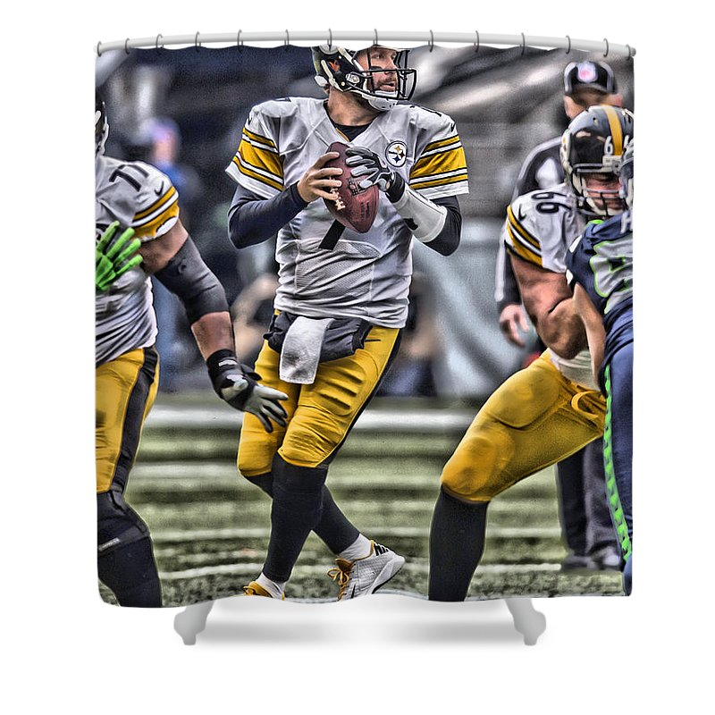 Ben Roethlisberger Pittsburgh Steelers Art Shower Curtain For Sale By Joe Hamilton