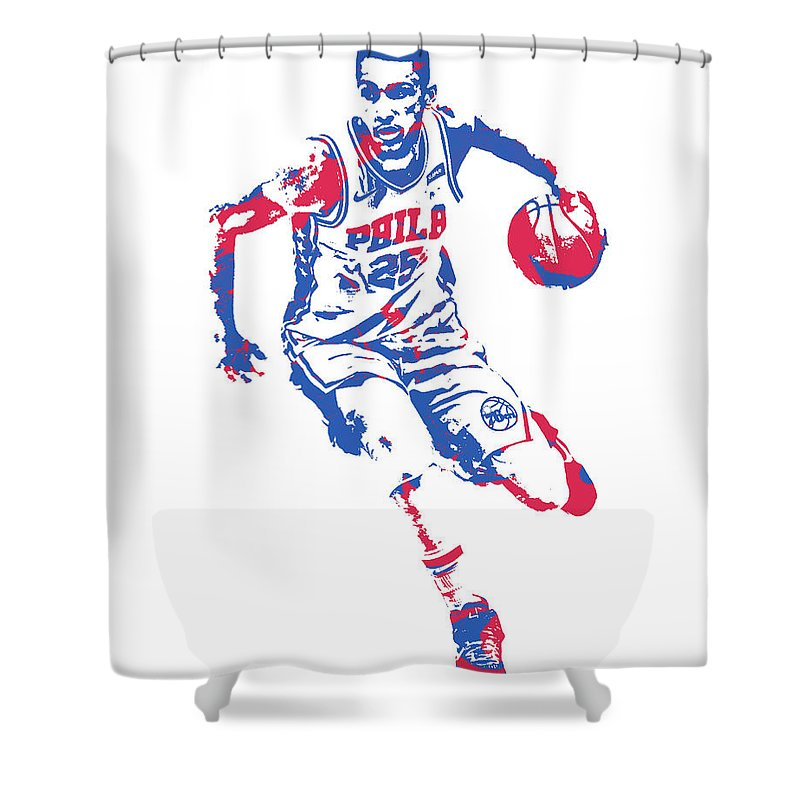 Ben Simmons Shower Curtain featuring the mixed media Ben Simmons Philadelphia 76ers Pixel Art 20 by Joe Hamilton