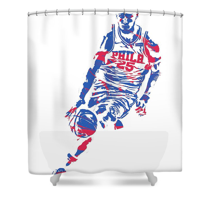 Ben Simmons Shower Curtain featuring the mixed media Ben Simmons Philadelphia Sixers Pixel Art 1 by Joe Hamilton