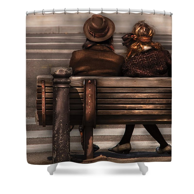 Steampunk Shower Curtain featuring the photograph Bench - A Couple Out Of Time by Mike Savad