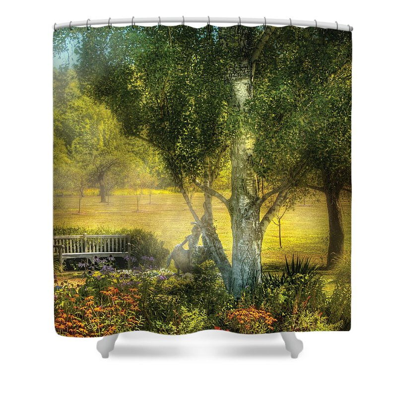 Savad Shower Curtain featuring the photograph Bench - I Had This Dream And It All Began by Mike Savad