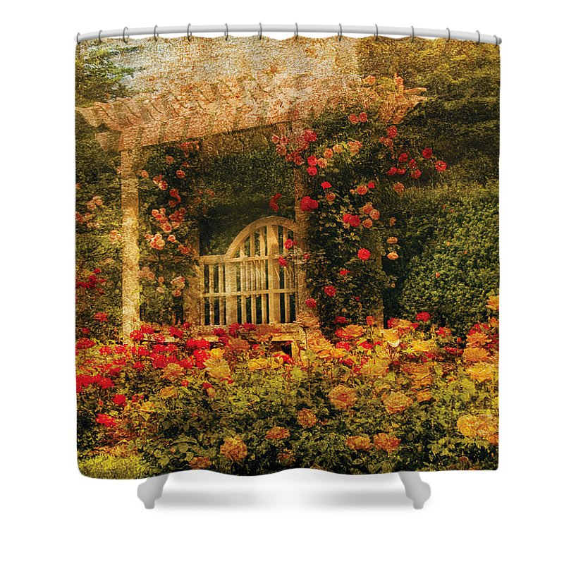 Roses Shower Curtain featuring the photograph Bench - The Rose Garden by Mike Savad