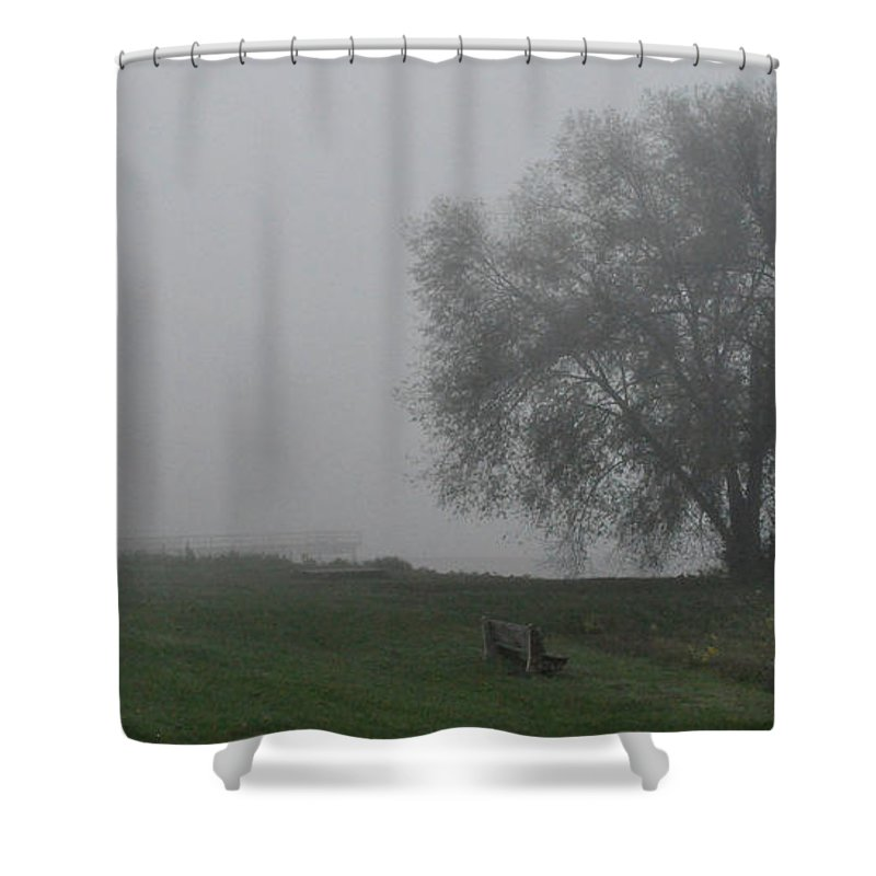 Fog Foggy Shower Curtain featuring the photograph Bench by Tim Nyberg