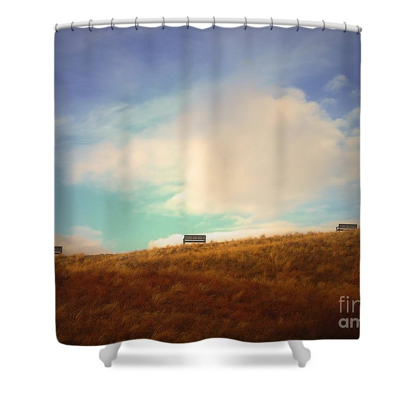 Benches Shower Curtain featuring the photograph Benches With A View 2 by Tara Turner