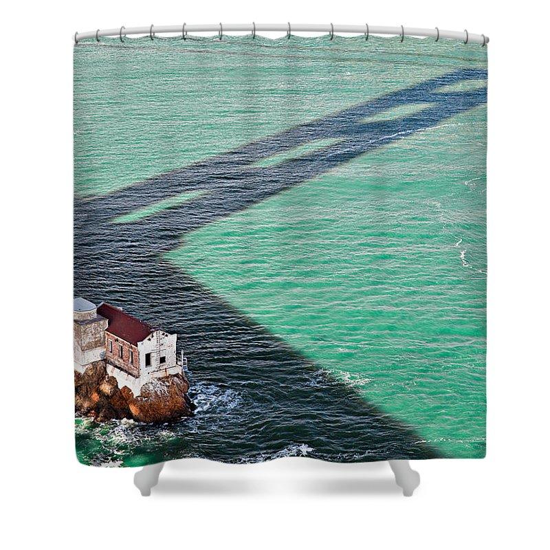 Golden Gate Bridge Shower Curtain featuring the photograph Beneath The Golden Gate by Dave Bowman