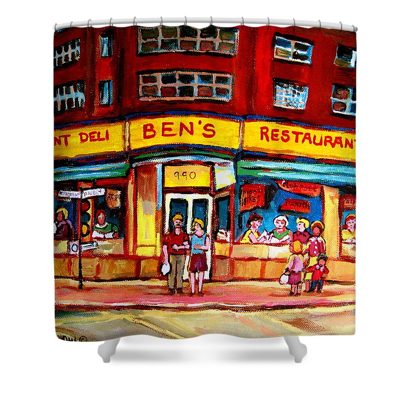 Bens Famous Restaurant Shower Curtain featuring the painting Ben's Delicatessen - Montreal Memories - Montreal Landmarks - Montreal City Scene - Paintings by Carole Spandau