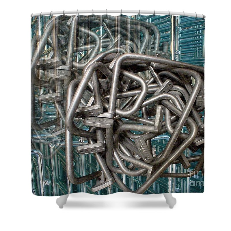 Digital Art Shower Curtain featuring the digital art Bent Heavy Wire by Ron Bissett