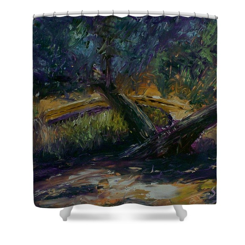 Landscape Shower Curtain featuring the painting Bent Tree by Stephen King