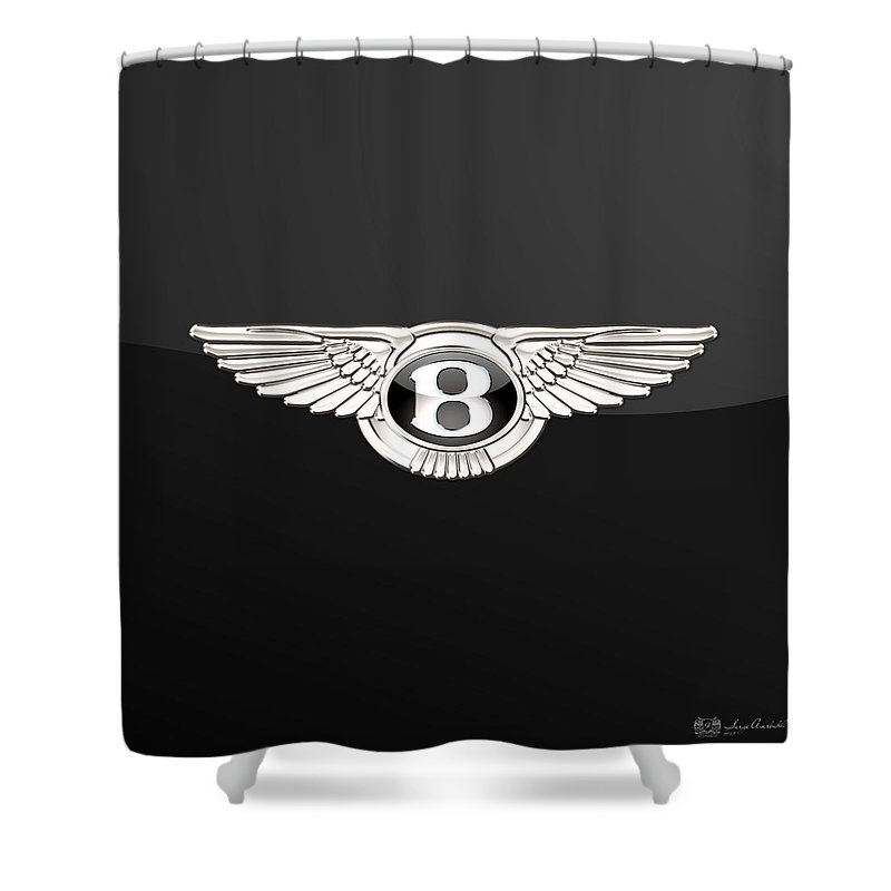 'wheels Of Fortune' By Serge Averbukh Shower Curtain featuring the photograph Bentley - 3 D Badge On Black by Serge Averbukh