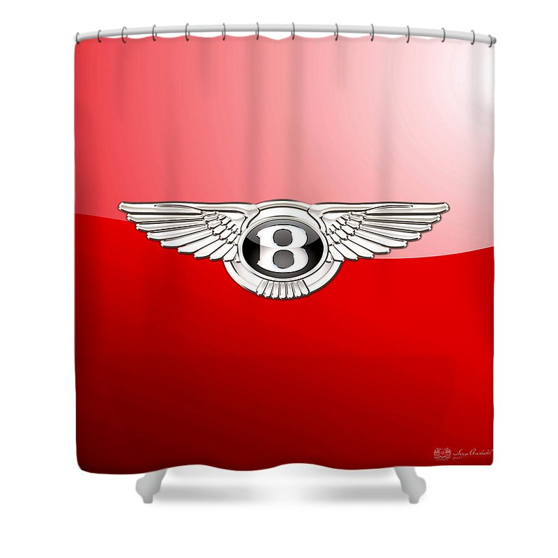 Wheels Of Fortune� Collection By Serge Averbukh Shower Curtain featuring the photograph Bentley 3 D Badge on Red by Serge Averbukh