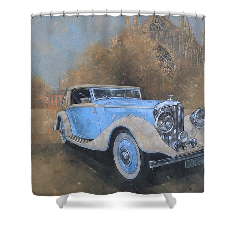 Car; Vehicle; Vintage; Automobile; Blue; Bentley; Kellner; Old Timer Shower Curtain featuring the painting Bentley By Kellner by Peter Miller