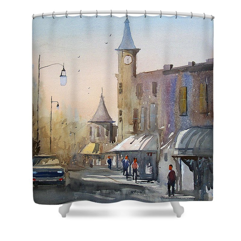 Watercolor Shower Curtain featuring the painting Berlin Clock Tower by Ryan Radke