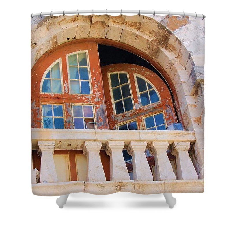 Windows Shower Curtain featuring the photograph Bermuda Balcony by Debbi Granruth