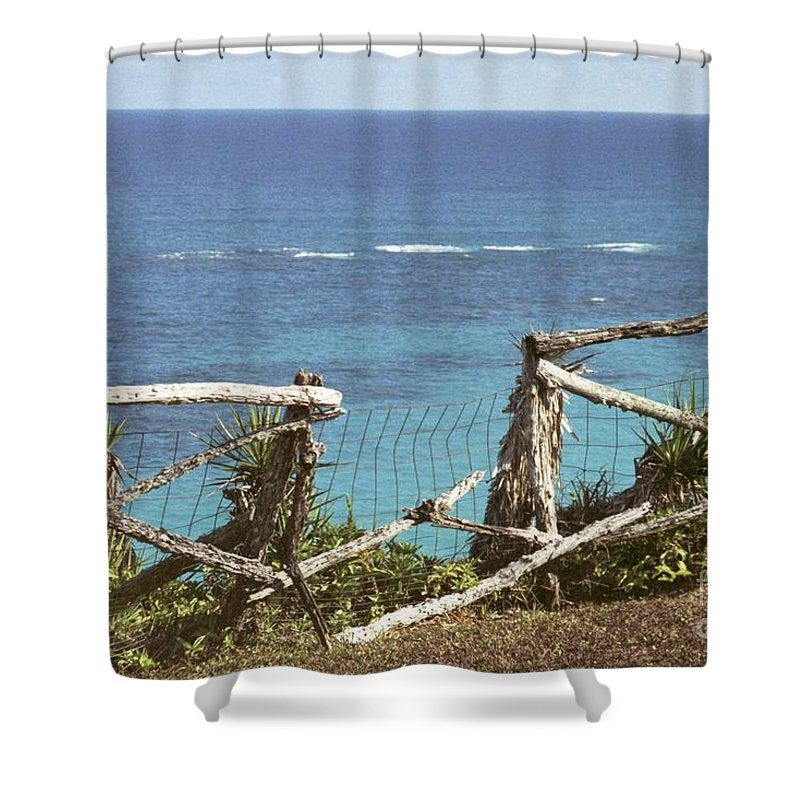 Bermuda Shower Curtain featuring the photograph Bermuda Fence And Ocean Overlook by Heather Kirk