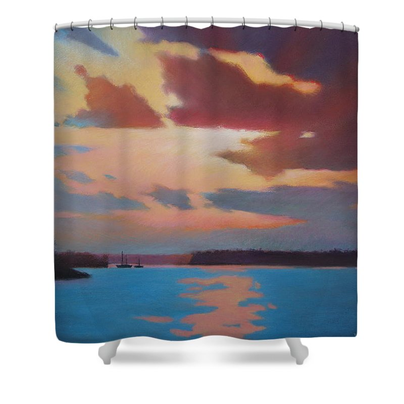 Bermuda Seascape Shower Curtain featuring the painting Bermuda Sunset by Dianne Panarelli Miller