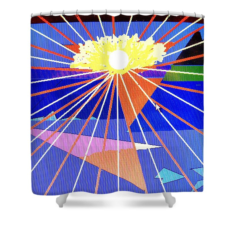 Sunset Shower Curtain featuring the digital art Bermuda Sunset by Ian MacDonald