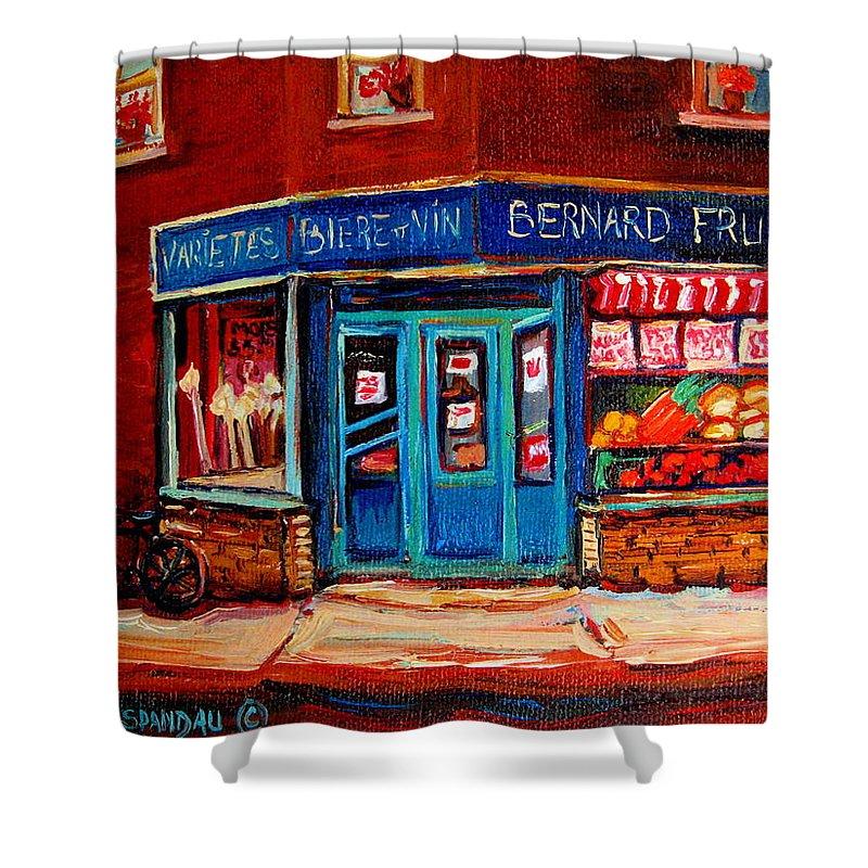 Bernard Fruit And Broomstore Shower Curtain featuring the painting Bernard Fruit And Broomstore by Carole Spandau