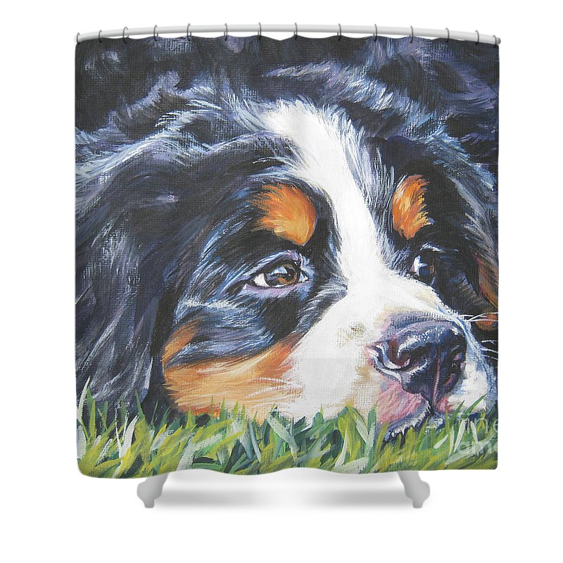 Bernese Mountain Dog Shower Curtain featuring the painting Bernese Mountain Dog In Grass by Lee Ann Shepard