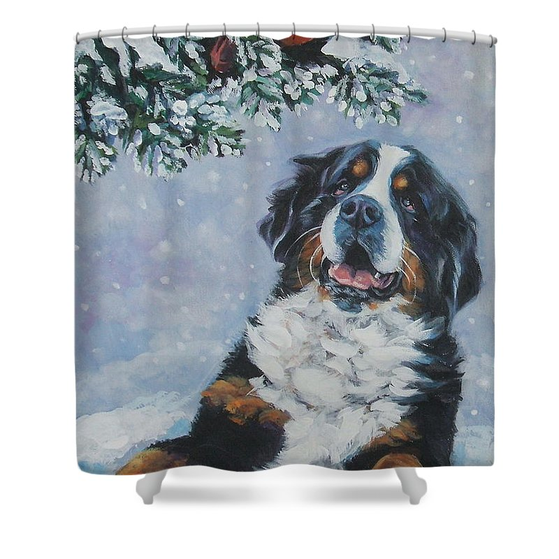 Bernese Mountain Dog Shower Curtain featuring the painting Bernese Mountain Dog With Cardinal by Lee Ann Shepard