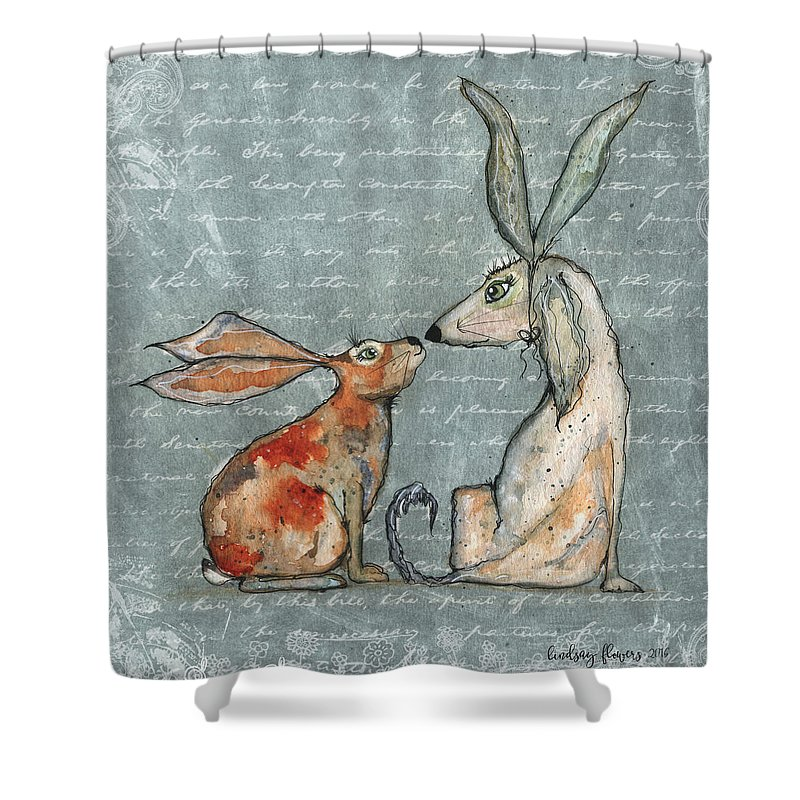 Bunny Shower Curtain featuring the painting Bernice And Elliot by Lindsay Flowers