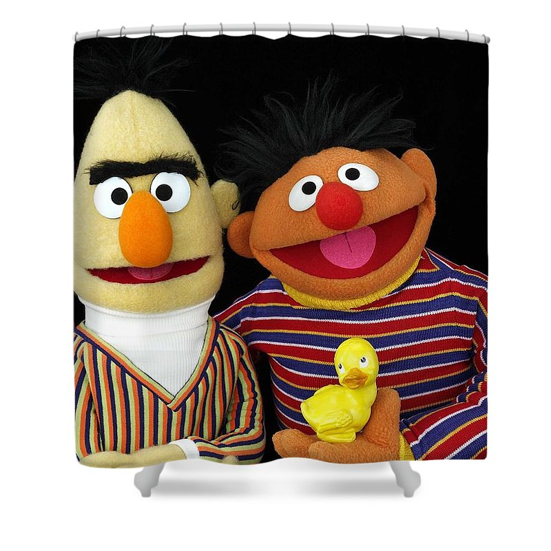 Bert Shower Curtain Featuring The Photograph And Ernie By Sesame Street