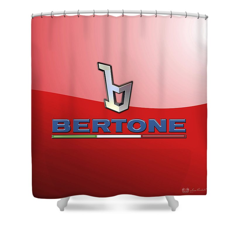 �wheels Of Fortune� Collection By Serge Averbukh Shower Curtain featuring the photograph Bertone 3 D Badge on Red by Serge Averbukh