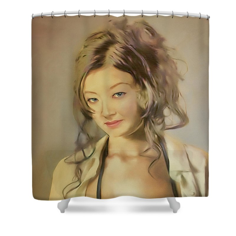 Salome Shower Curtain featuring the painting Bessie by Salome Hooper