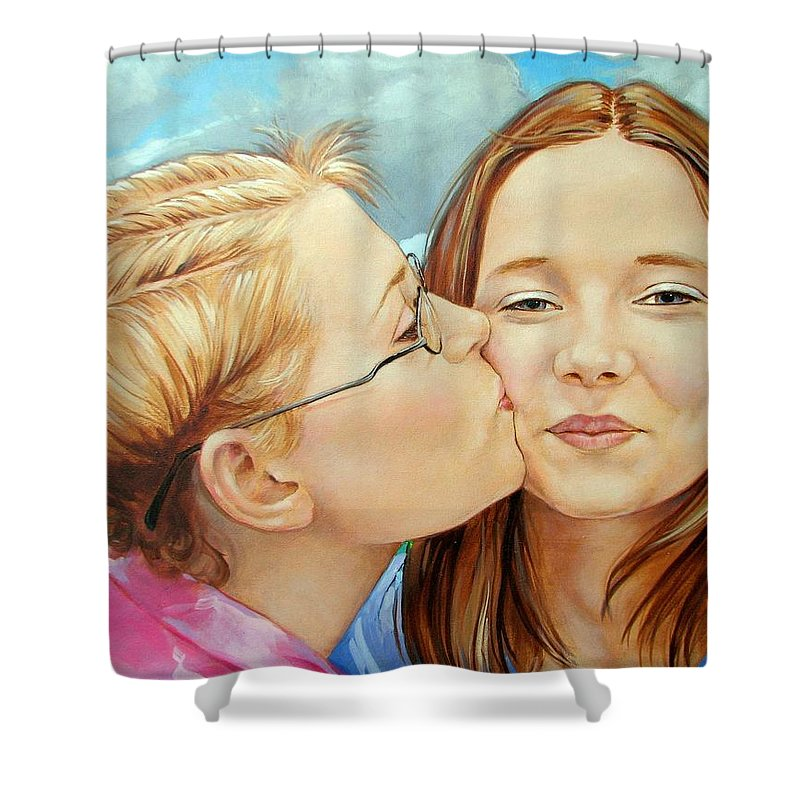 Best Friends Shower Curtain featuring the painting Best Buds by Jerrold Carton