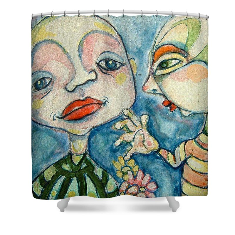 Circle Head Shower Curtain featuring the painting Best Friends 1 by Michelle Spiziri