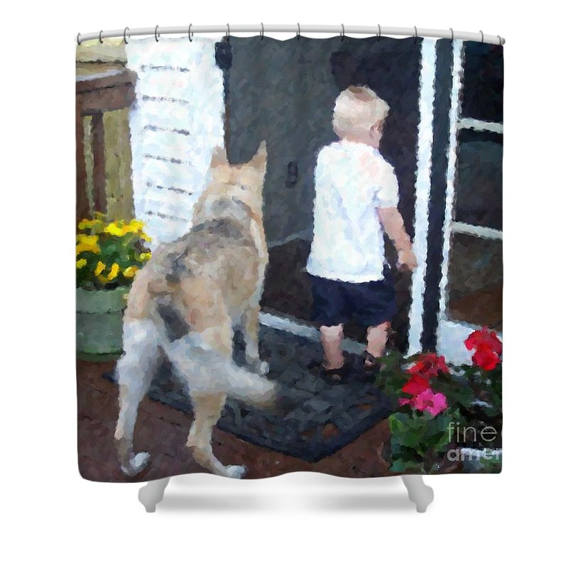 Dogs Shower Curtain featuring the photograph Best Friends by Debbi Granruth